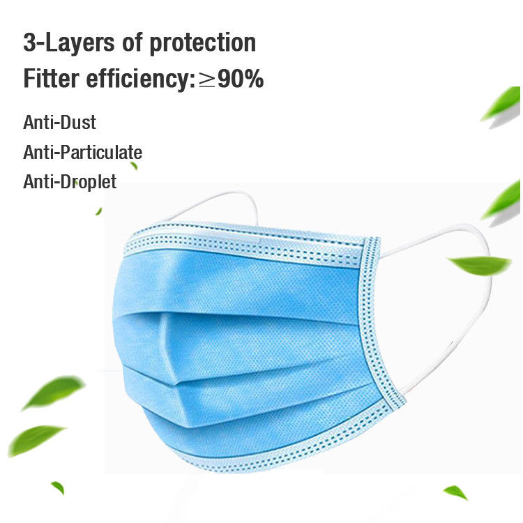 3 Ply Disposable Surgical Face Mask Resistance Pollution 50pcs Per Box  With Earloop